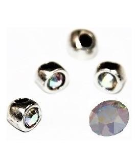 Cuenta irregular 7x7x6mm paso 2mm de zamak baño de plata y SWAROVSKI, color cristal AB