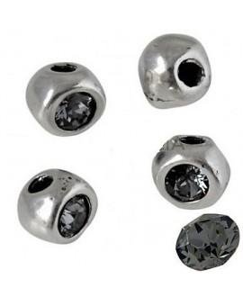 Cuenta irregular 7x7x6mm paso 2mm de zamak baño de plata y SWAROVSKI, color silver night