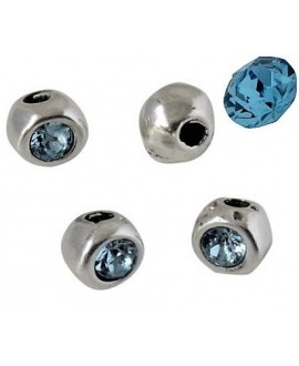 Cuenta irregular 7x7x6mm paso 2mm de zamak baño de plata y SWAROVSKI, color aquamarine