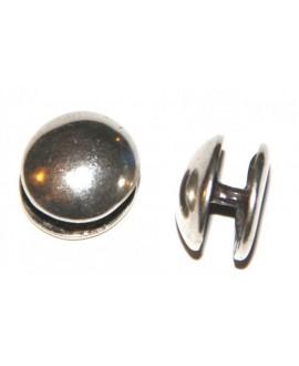 Chincheta lisa 18mm, un lado plano, separación 5mm, zamak baño de plata