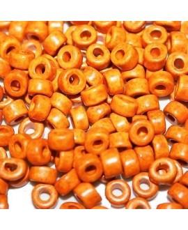 Rondel de cerámica 6mm,  paso 2mm, precio por 20 unidades color naranja