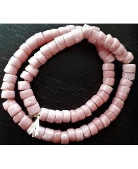 Cuentas cilindro Sandcast rosa 6x7mm, paso 3mm, 70 cuentas aprox