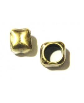 Cuenta cuadrada 12x14mm agujero 10mm bronce