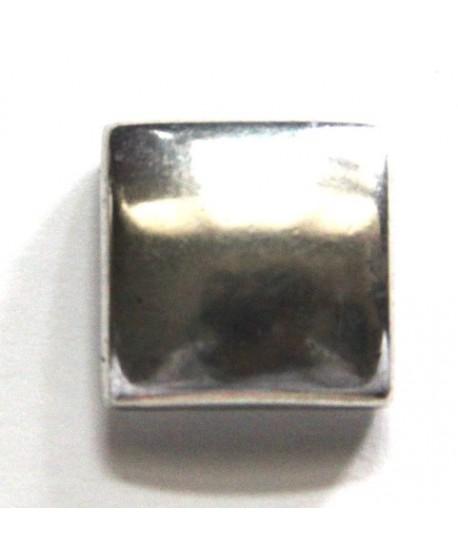Entre-pieza cuadrado 18mm paso 14x2mm, zamak baño de plata