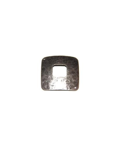 Entre-pieza cuadrado 35mm, dos agujeros 1mm, zamak baño de plata