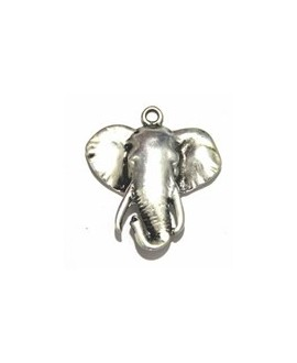 Colgante elefante 53x47mm zamak baño de plata