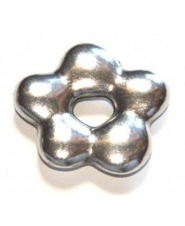 Entre-pieza flor 36mm, paso 13mm, zamak baño de plata