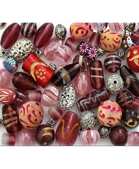 Kits Priyala pink  de cuentas cristal indio/madera, 150gr