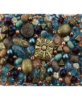 Kits serene sapphire de cuentas acrílicas, arcilla polímetrica y vidrio, 80gr