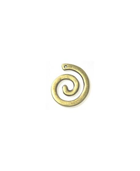 Colgante espiral 43x49mm zamak baño de bronce