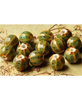 Cuentas de porcelana esmaltada 12mm verde/crema, precio por 10 unidades