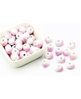 Cuentas de porcelana gota esmaltada/craquelada 6mm paso 2mm, precio por 25 unidades pink