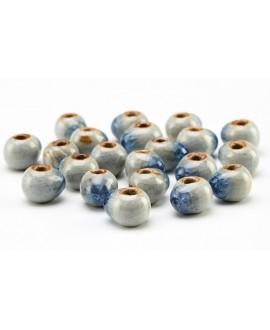 Cuentas de porcelana gota esmaltada/craquelada 6mm paso 2mm, precio por 20 unidades shappire