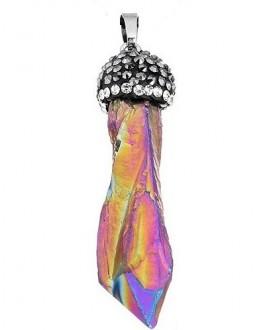 Colgante cristal de cuarzo con  rhinestone pavimentado 55mm