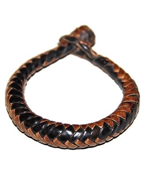 Pulsera cuero tejido de  Malí 16 cm, marrón/negro