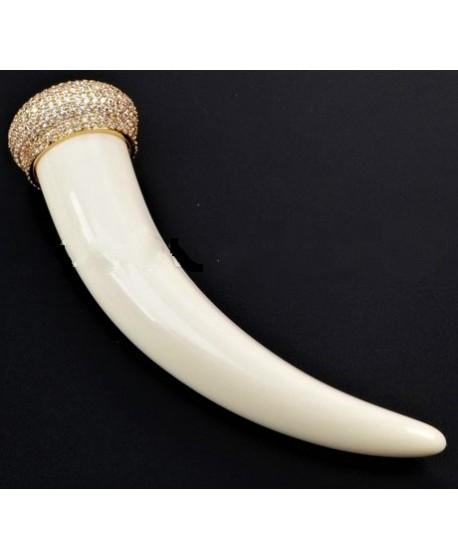 Colgante cuerno resina/cristal pavé ( circonita ) 100x26mm
