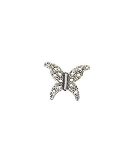Entre-pieza mariposa 58x70mm, paso 2mm, pasador, zamak baño de plata