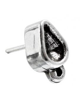 Pendientes 10x7mm con forma de pera y anilla para swarovski 4328 8x5mm,  zamak baño de plata, precio por par