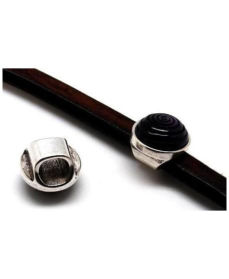 Entre-pieza regaliz 20mm, Morado, paso 10x7mm zamak baño de plata
