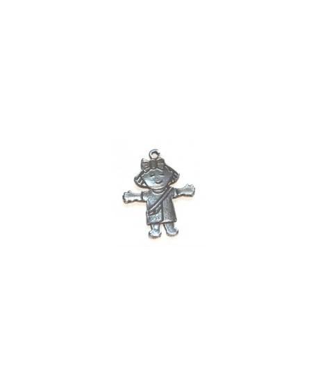 Colgante nena 28mm, zamak baño de plata