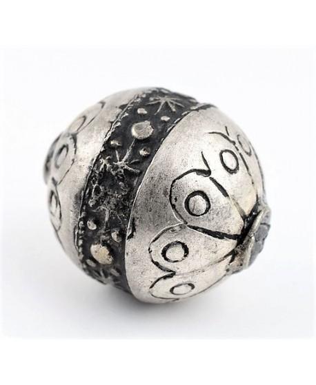 Cuenta oval artesanal de plata bereber 26x23mm, paso 2mm