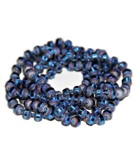 Cadena de cristal azul 5mm con nudos, 140cm