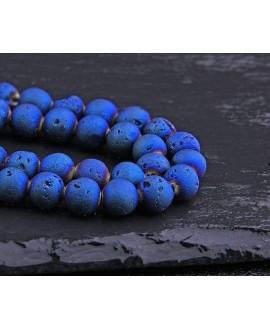 Cuentas ágata natural drusy Geode  Azul  Titanio, 8mm paso 1mm precio por ristra 40 cm