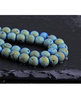 Cuentas ágata natural drusy Geode Verde / Azul  Titanio, 8mm paso 1mm precio por ristra 40 cm