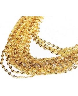 Cadena calabrotes 4x3mm latón baño de oro, precio por 50 cm