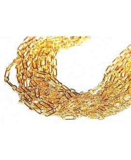 Cadena rectángulos 10x4mm latón baño de oro, precio por 50 cm