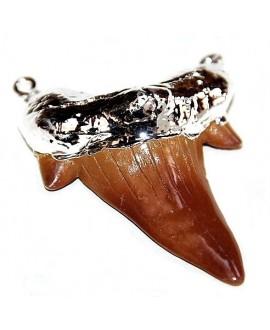 Colgante diente de tiburón de resina chapado en plata, 60x45 paso doble de3mm