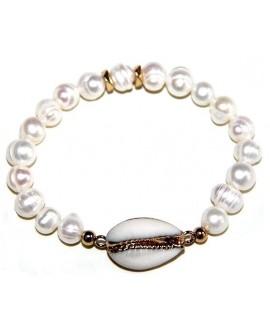 Pulsera perlas y cauri, elástica