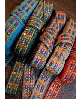 Cinta étnica arco iris 2 cm de ancho, color azul oscuro, precio por metro