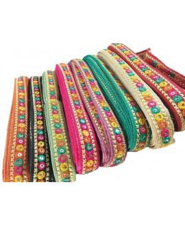 Cinta étnica arco iris 1,85 cm de ancho, precio por metro