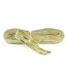 Cinta étnica bordada con lentejuelas doradas 3 cm de ancho, precio por metro