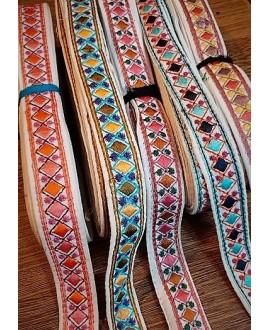 Cinta étnica bordada de algodón 2 cm de ancho, precio por metro