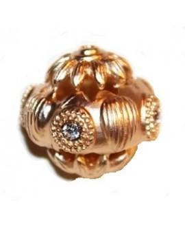 Cuenta 25mm paso 1mm oro coreano, rosa mate y cristal