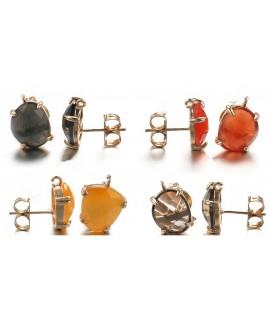 Pendientes con piedra semi preciosa 15x10mm paso 1mm, cobre baño oro, precio por par
