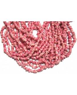 Chips coral rosa 6,5x13mm agujero 0,5, precio por ristra