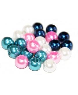 Perla acrílica 10mm paso 6mm, precio por 10 unidades