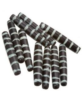 Cuentas de hueso negro/blanco safari hechas a mano 35x6mm paso 3mm , precio por 5 unidades