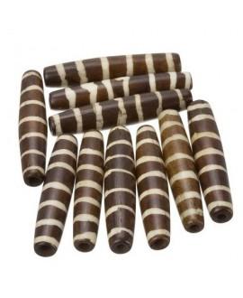 Cuentas de hueso marrón/crema safari hechas a mano 35x6mm paso 3mm , precio por 5 unidades