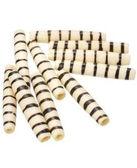 Cuentas de hueso crema/marrón safari hechas a mano 35x6mm paso 3mm , precio por 5 unidades
