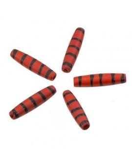 Cuentas de hueso rojo/negro safari hechas a mano 24x5mm paso 2mm , precio por 5 unidades