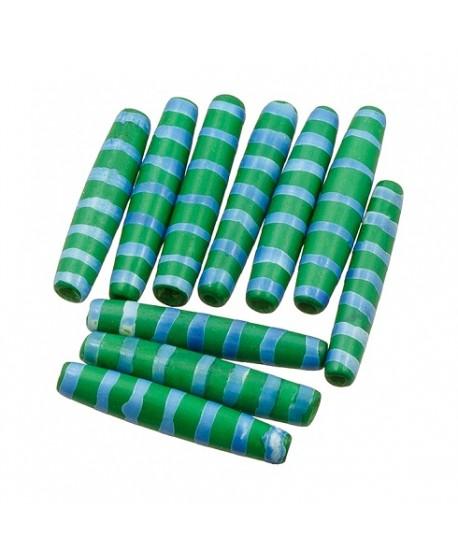 Cuentas de hueso verde/azul safari hechas a mano 35x6mm paso 3mm , precio por 5 unidades
