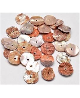 Cuentas de conchas redondas, planas de Paua natural 13~15x2~3mm,  paso 1mm, precio por 50 unidades