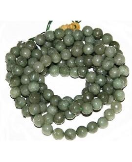 Cuentas jade verde/transparente facetada 8mm, precio por ristra