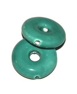 Donut turquesa 26x26x8mm, paso 6mm, agujero 2mm