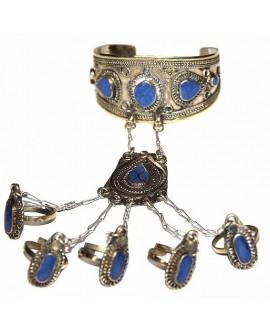 Brazalete Afgano cinco anillos con lapislazuli