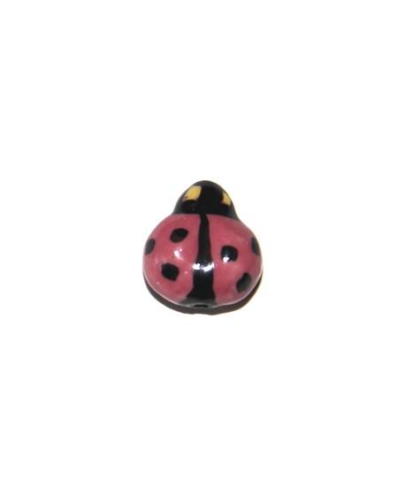 Mariquita ceramica rosa15mm